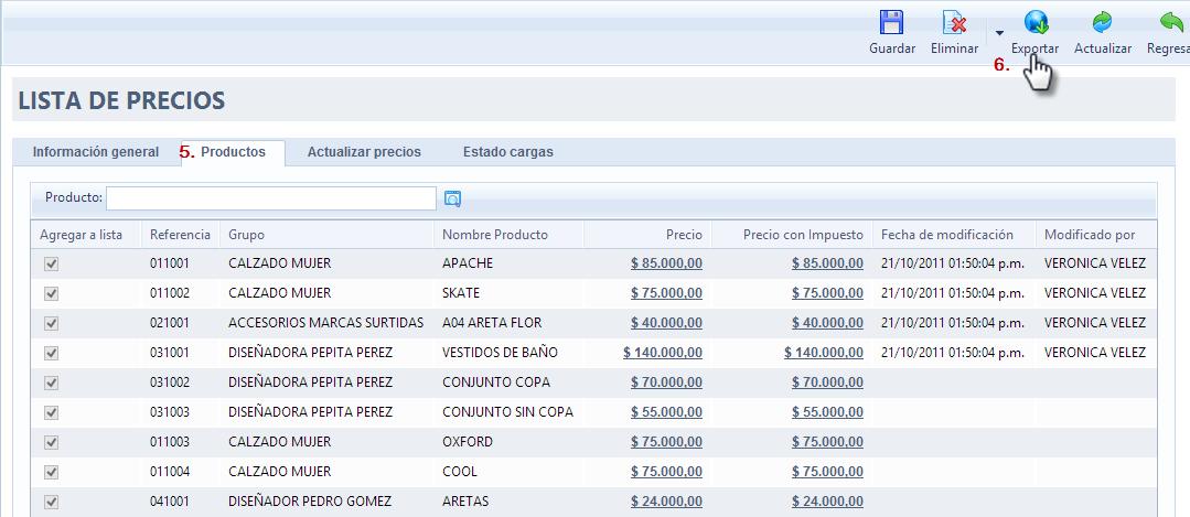 Exportar lista de precios final