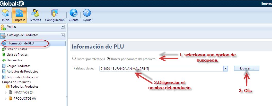 Información de PLU