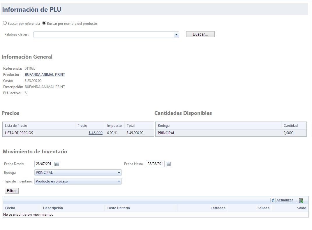 Información de PLU2