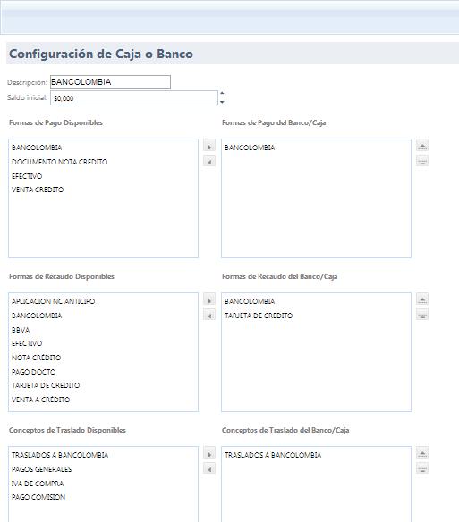 configuracion de caja y banco
