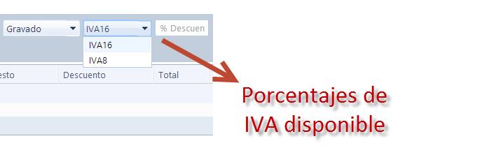 porcentaje de iva disponible