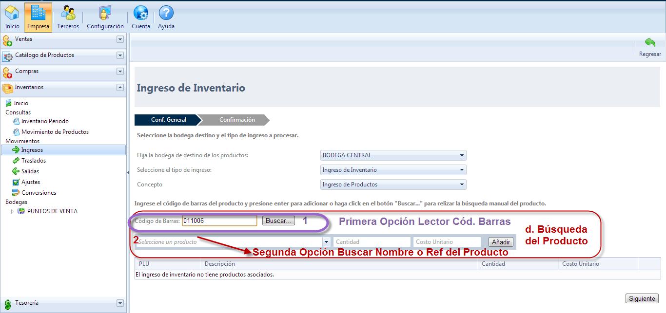 Criterios de Búsqueda del producto en el Ingreso de Inventario Primera y segunda Opción de búsqueda.