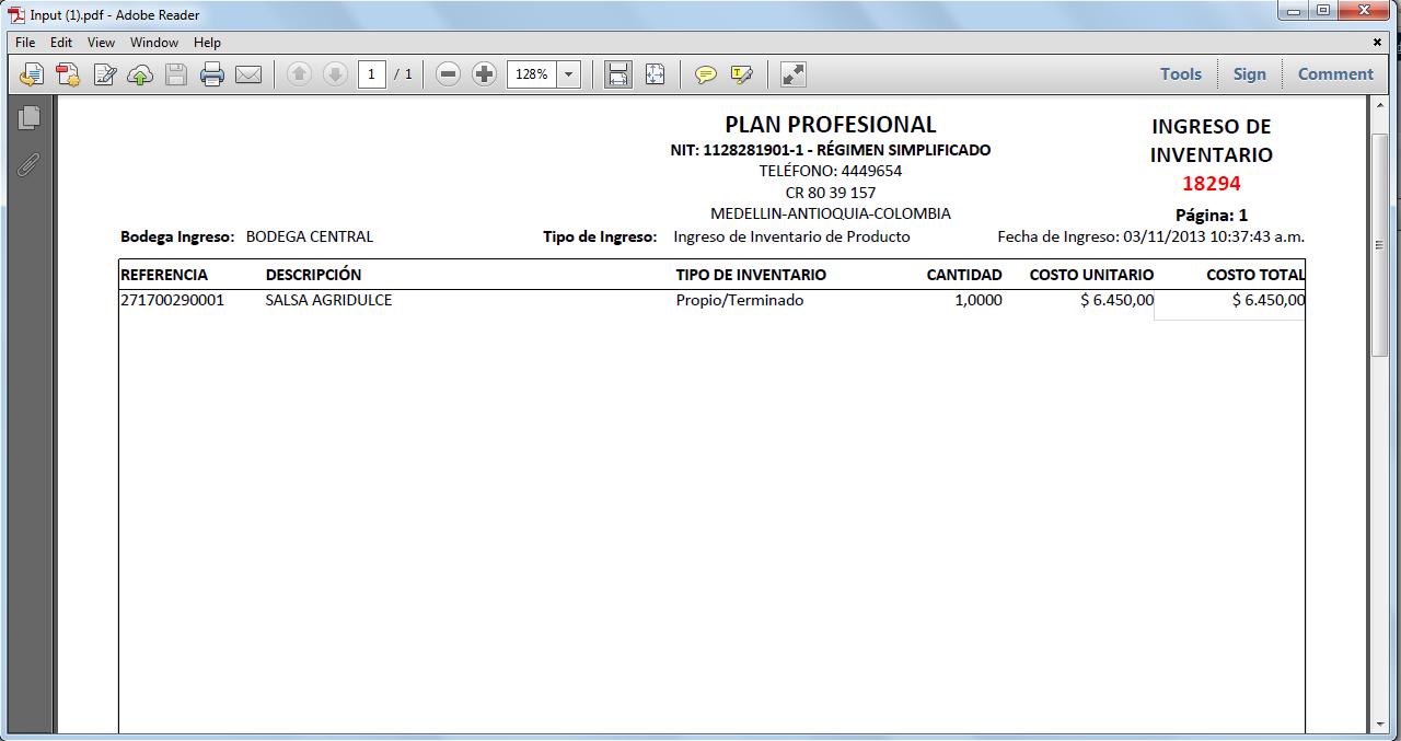 PDF generado del Ingreso de Inventario